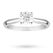 Brilliant cut 0.70 carat diamond solitaire ring in Platinum