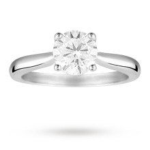 Brilliant cut 1.00 carat diamond solitaire ring in Platinum