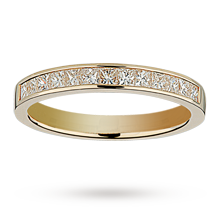 Princess cut 0.50 total carat weight diamond half eternity ring in 18 carat yellow gold