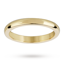2.5mm flat sided d shape ladies wedding ring in 18 carat yellow gold